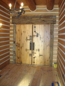 Rustic recovered barn wood door