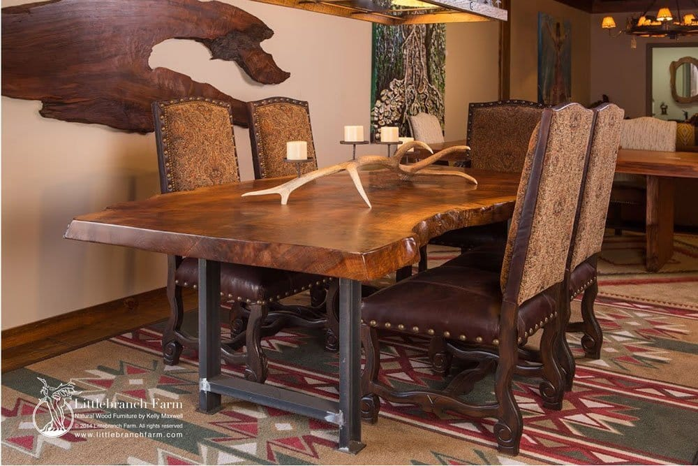 Rustic Wooden Dining Room Table ~ Rustic dining table live edge wood slabs littlebranch farm