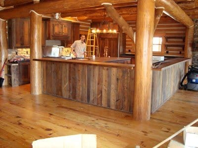 Rustic Wood Bar Tops http://littlebranchfarm.com/featured-projects/wyoming-logde-in-jacksonville-fl/