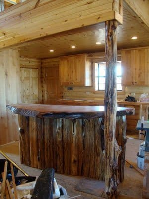 Rustic Wood Bar Tops http://littlebranchfarm.com/featured-projects/western-tennessee-retreat/