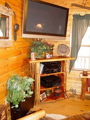 Log TV stand