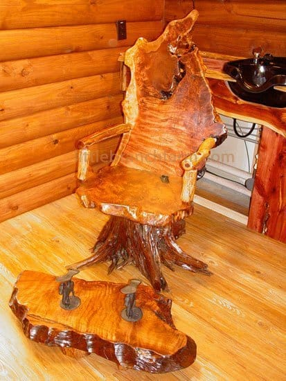 burl wood chair