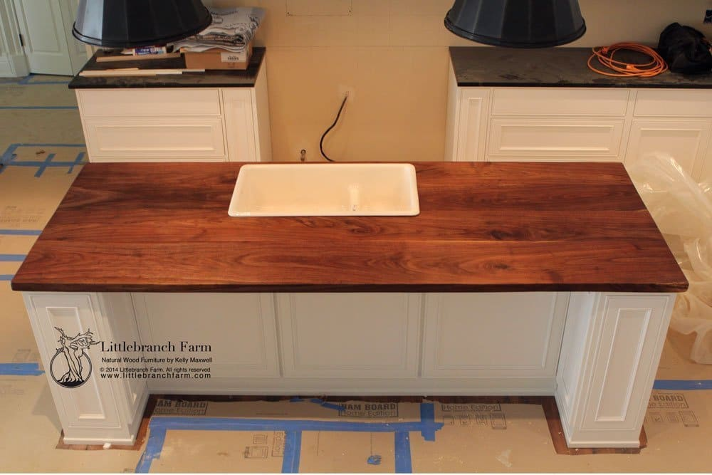Butcher Block Countertop In A Contemporary Kitchen With Food Safe Finish Features Wide Plank Black Walnut