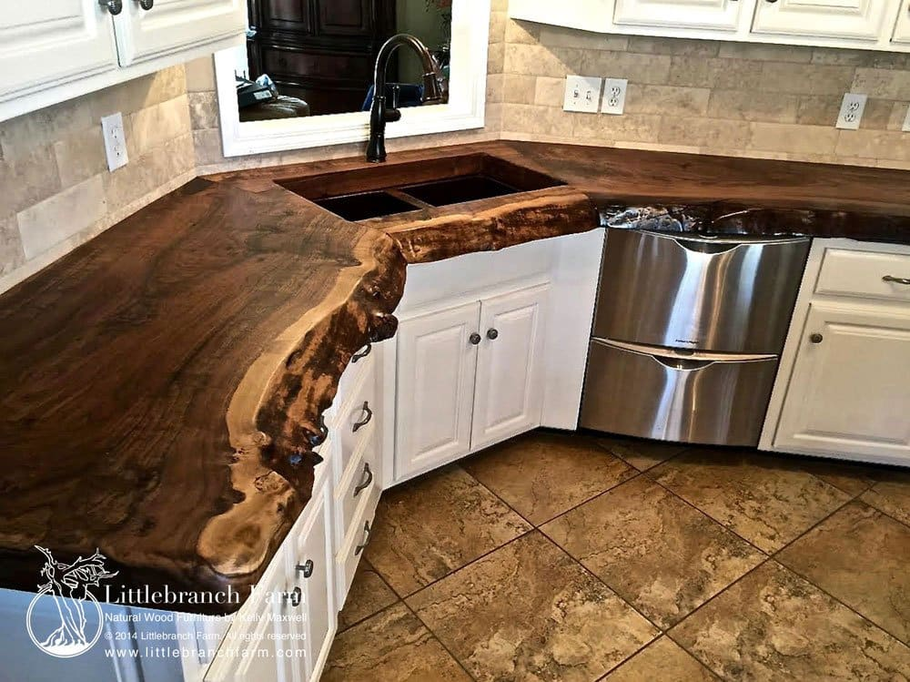 Solid Black Countertops : Live edge slab wood countertop custom crafted to the clients needs ...