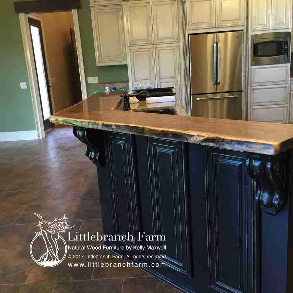 Wood slab countertop
