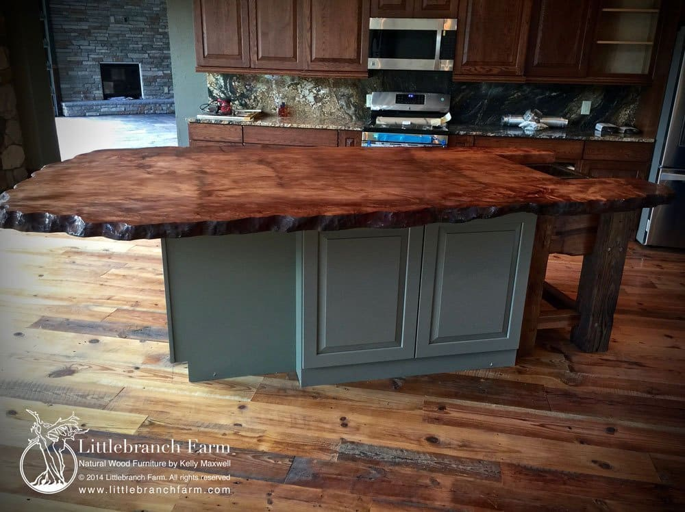 wood slab countertop. This 10′ x 6′ custom island top is one solid ...