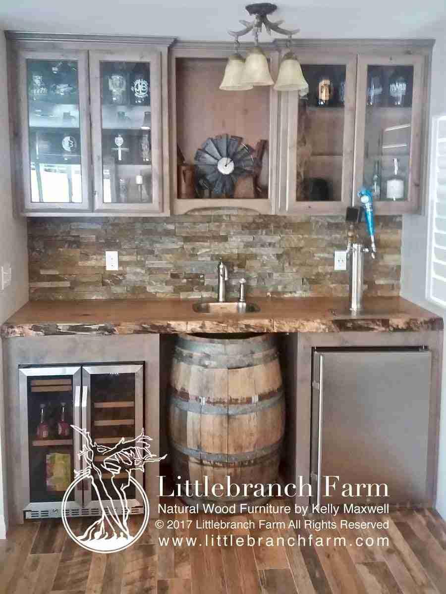 Wood Countertop Rustic Wet Bar