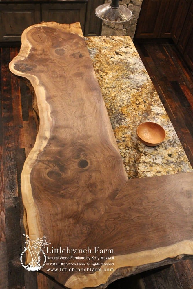 Natural wood countertop with granite