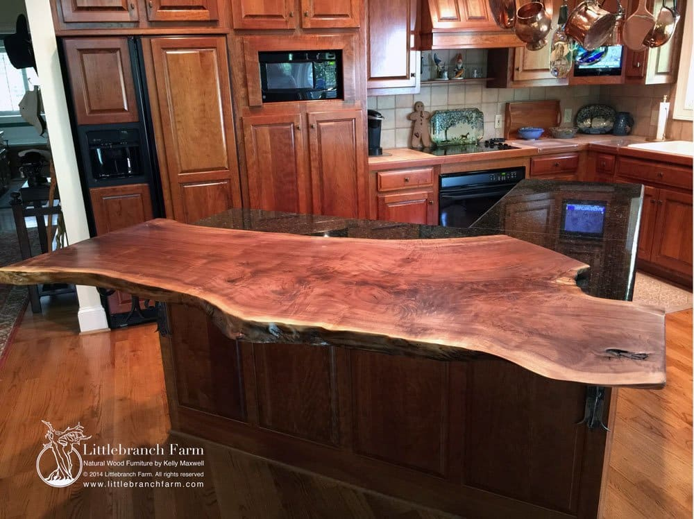 natural wood countertops live edge wood littlebranch farm what stones are used for countertops kitchen cabinets