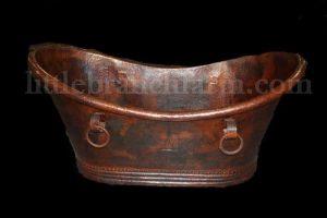 patinaed copper bathtub