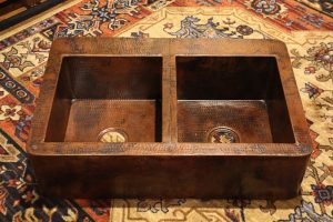 Rustic Copper Kitchen Farmhouse Sink 50/50 Double Well Aproned | Littlebranch Farm