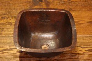 Square Copper Sink with Pinecones | Littlebranch Farm