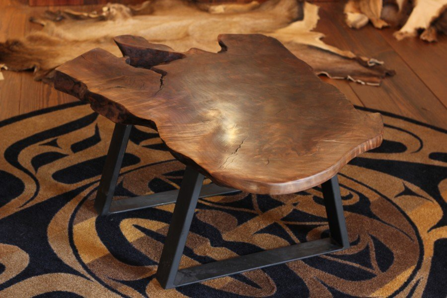 Rustic Modern Claro Walnut Coffee Table with Metal Base