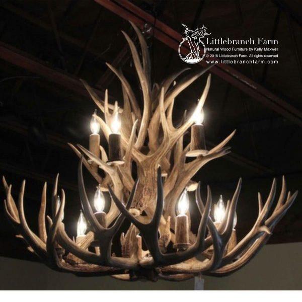Two-tier mule deer antler chandelier