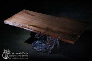 Live Edge Redwood Dining Table with Root Base