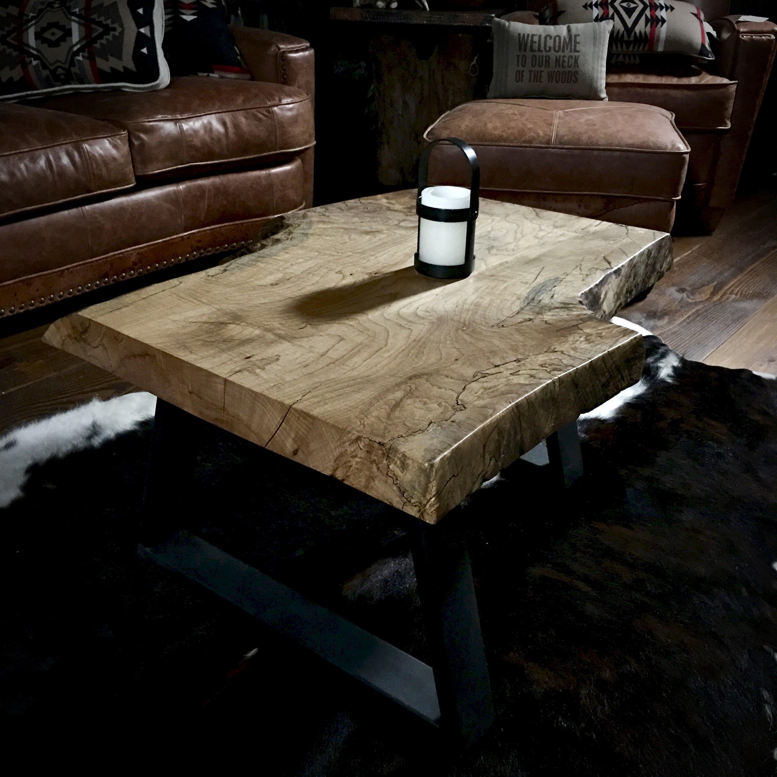 Rustic Modern Coffee Table live edge burl wood slab