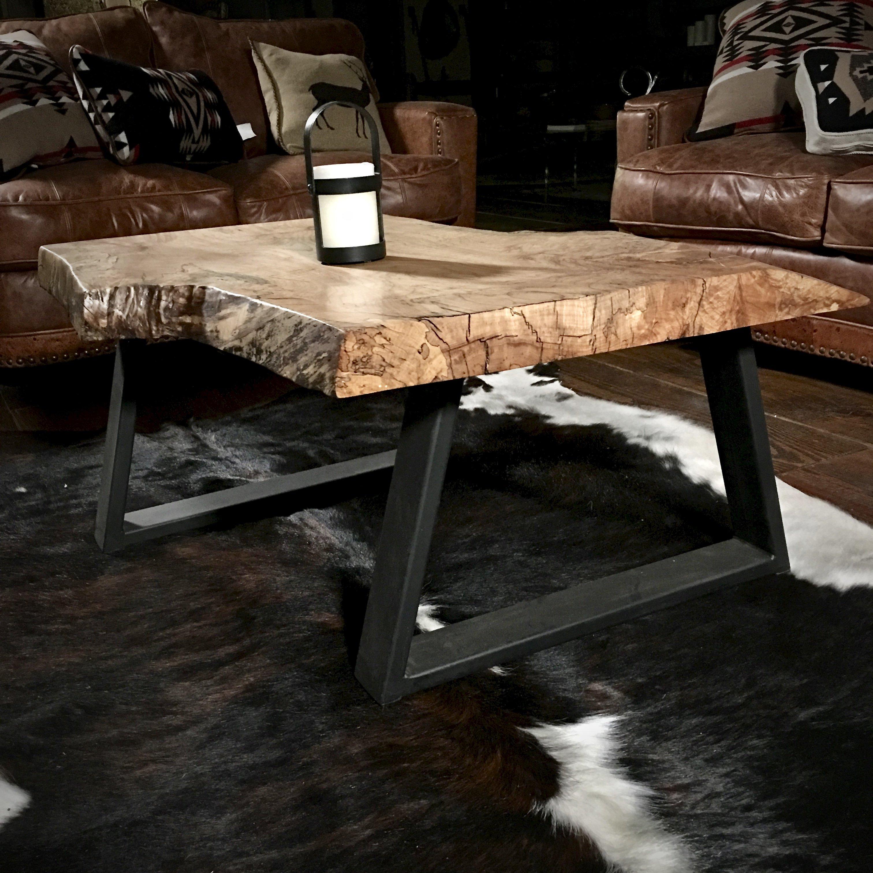 Rustic Slab Wood Coffee Table Bench: Rustic Modern Coffee Table