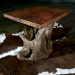 hammered copper driftwood table