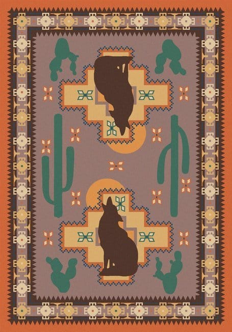 American Dakota Rug - howl at the Moon - desert rose