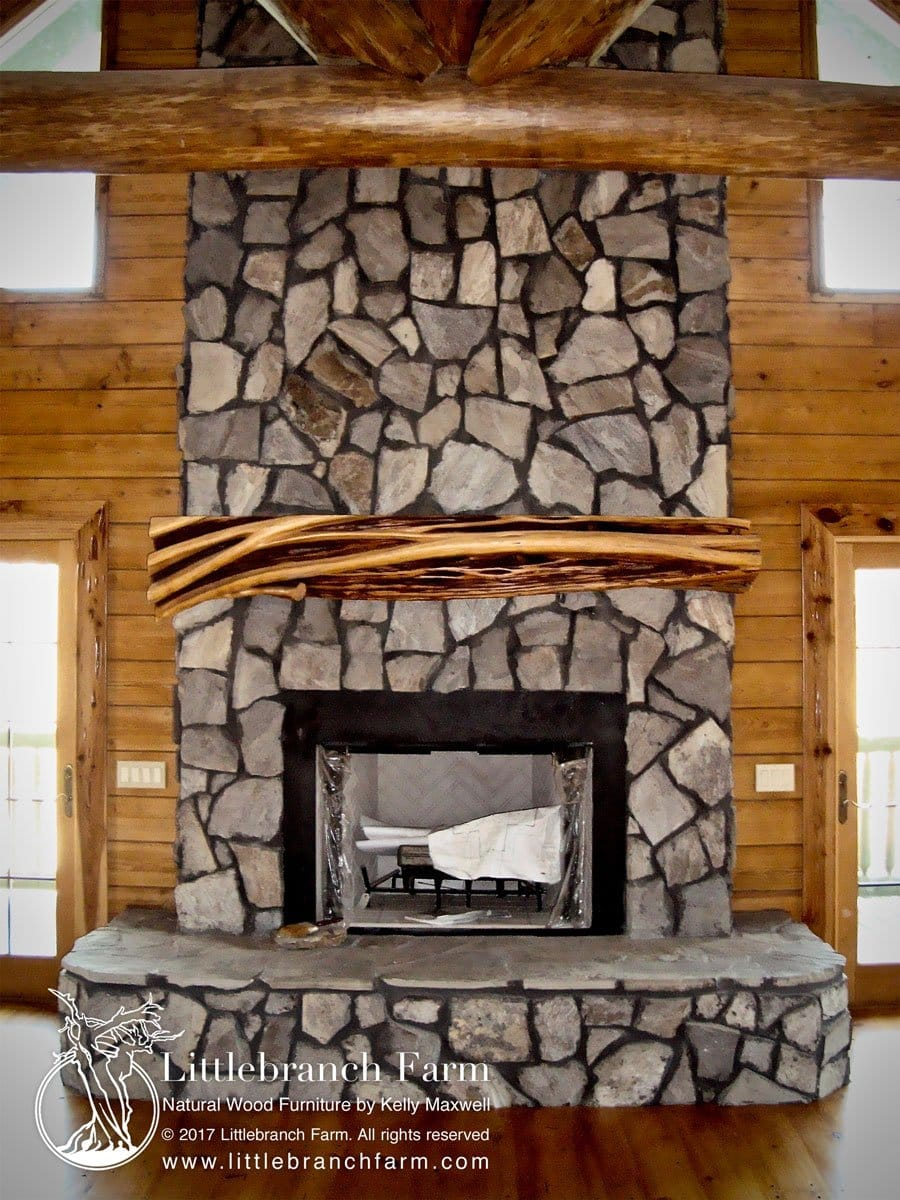 Rustic Fireplace Mantel Live Edge Wood Littlebranch Farm