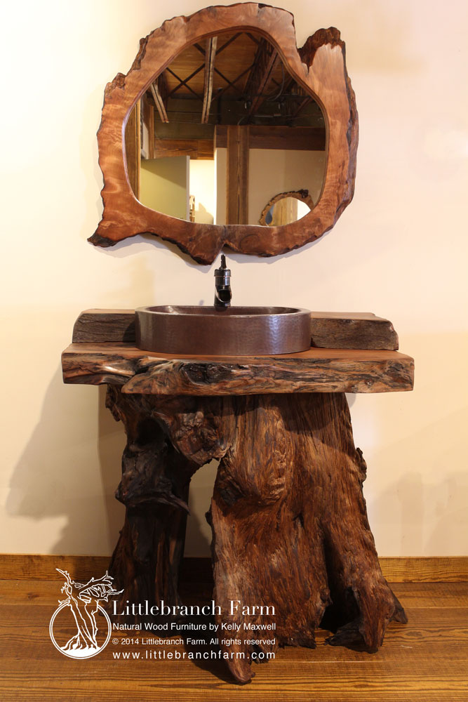 Rustic bathroom vanity with live edge wood mirror