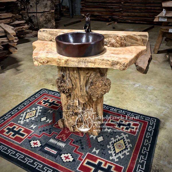 Maple burl log vanity