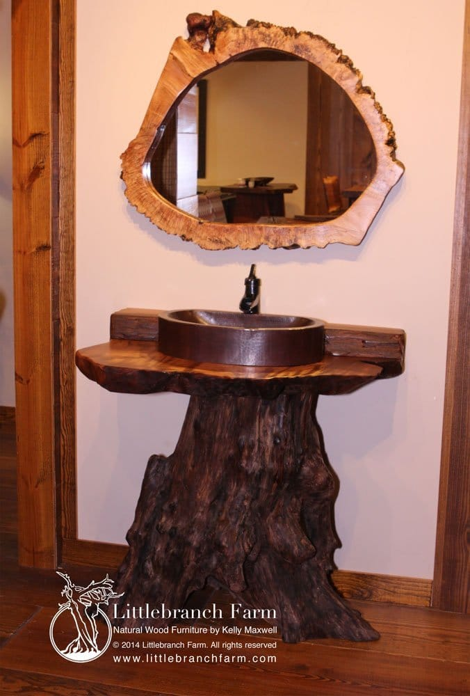 redwood stump vanity with live edge mirror