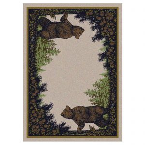 2 brown bears and pine tree rug