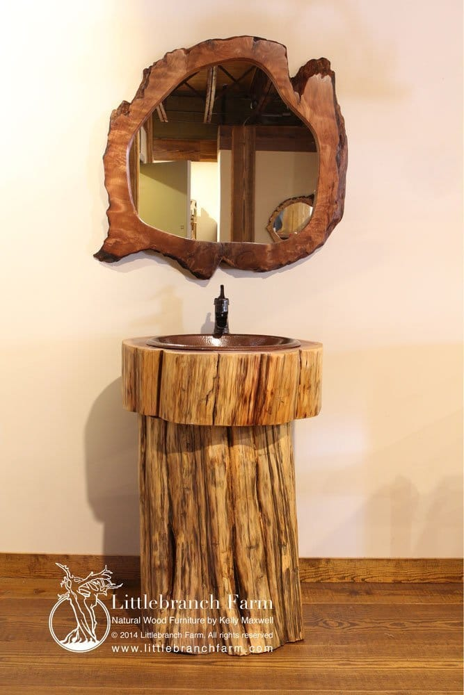 Log Vanity Rustic Bathroom Vanities Live Edge Logs
