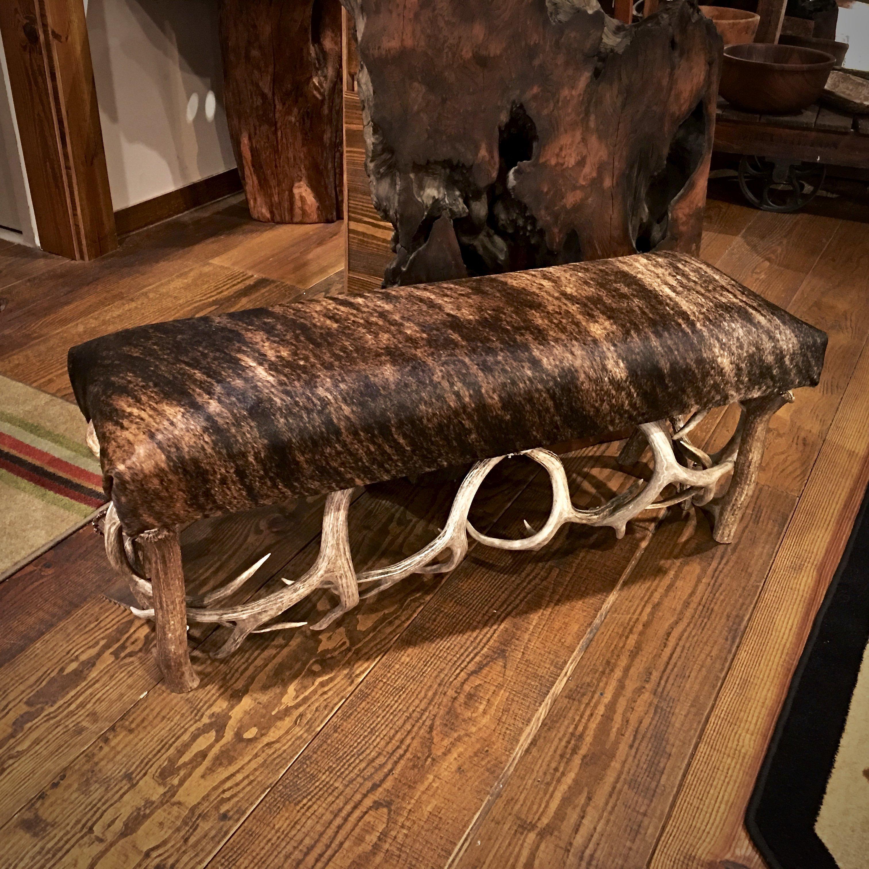 rustic cowhide bench
