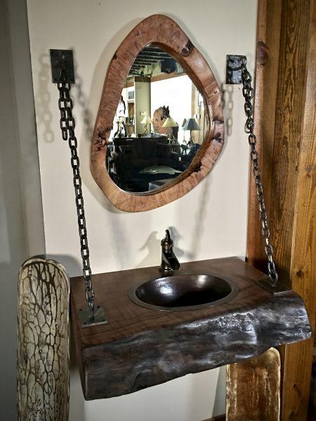 rustic hanging vanity