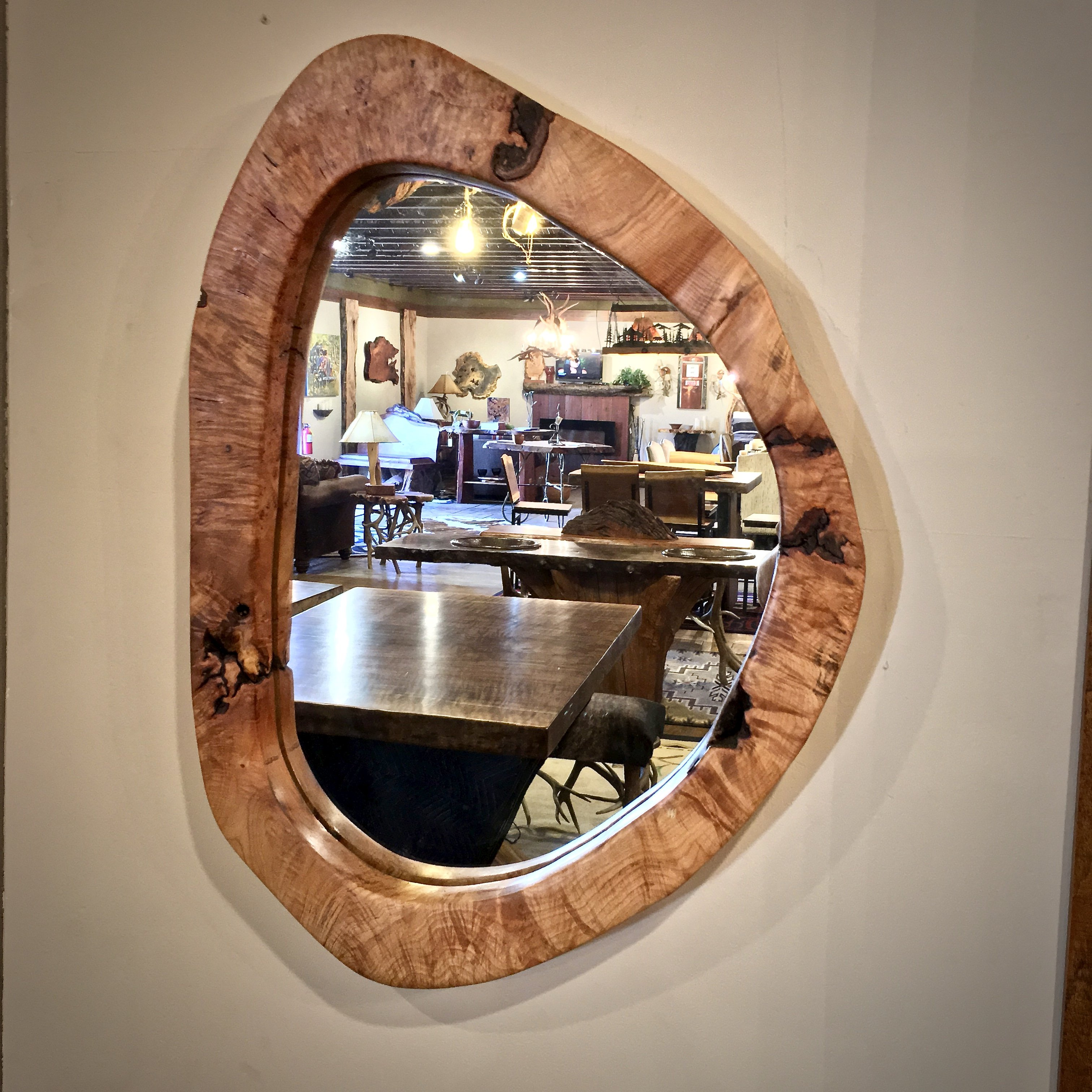 maple burl wood mirror