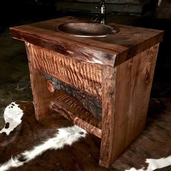 Live edge rustic bathroom vanity