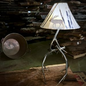Hand forged antler lamp