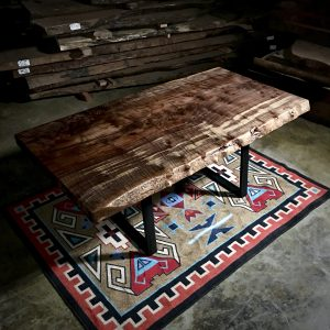 wood slab dining table