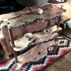 Burl wood slab table