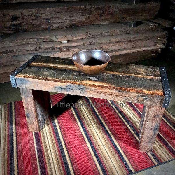 barn wood vanity on rug