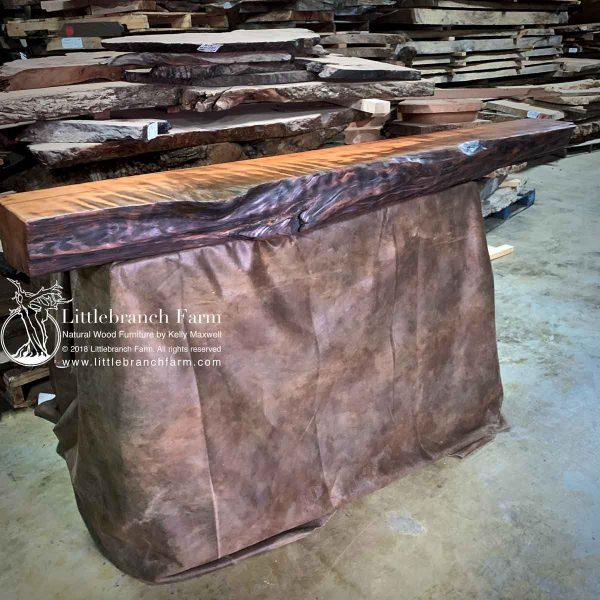 Rustic edge wood mantel