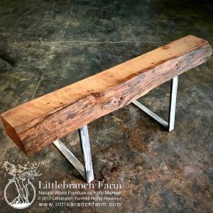 Natural wood fireplace mantel