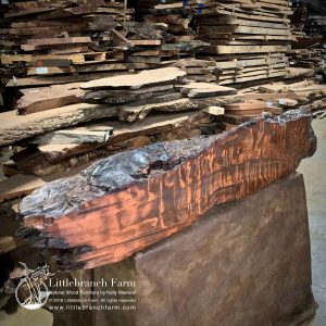 Burl wood fireplace mantel