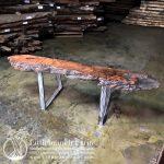 Burl wood fireplace mantel