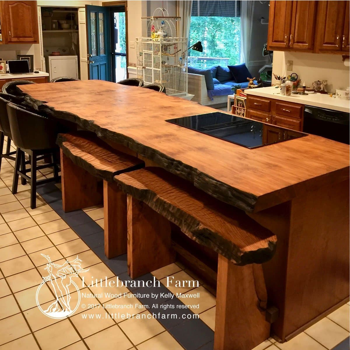 Etonnant This Live Edge Wood Countertop With Custom Double Barstool Benches. Our  Custom Furniture Makers Also Design And Build Our Rustic Style Live Edge  Furniture.
