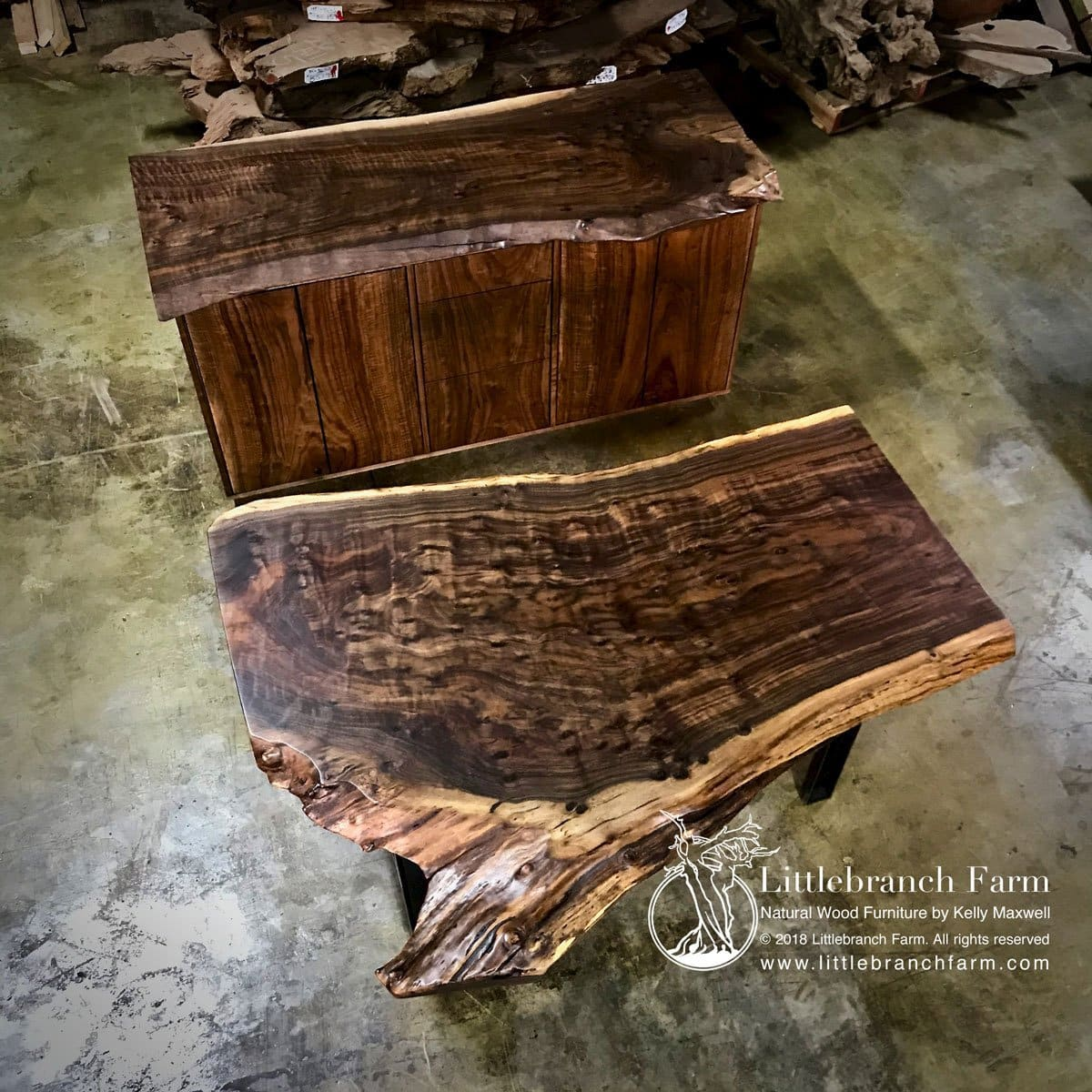 Wood slab office desk
