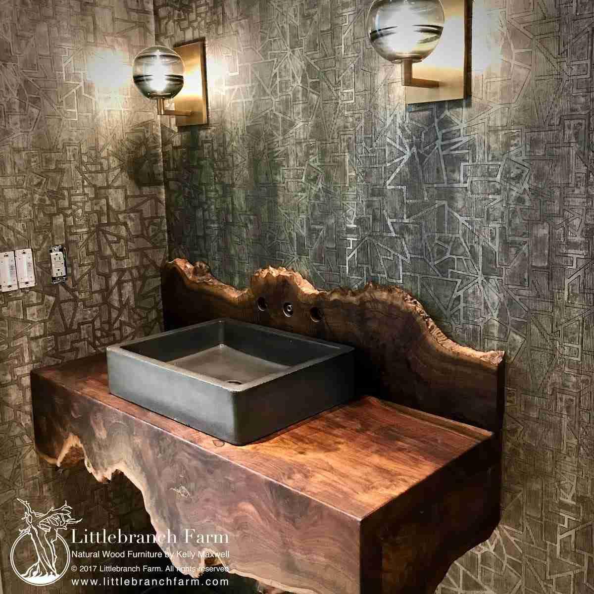 Waterfall Wood slab vanity