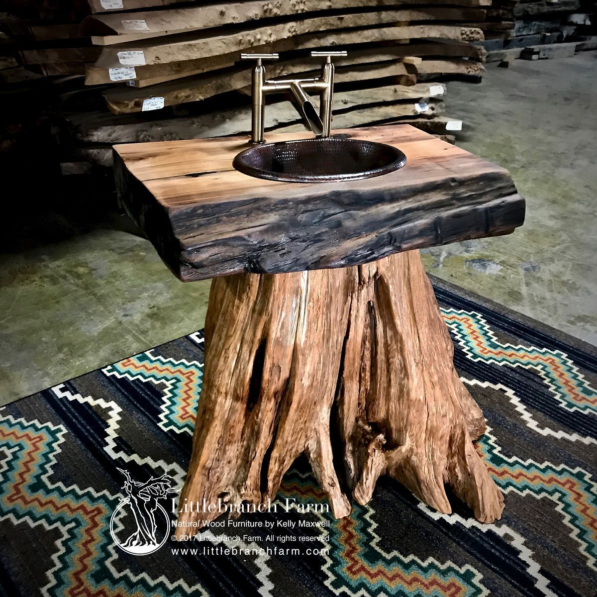 Tree stump sink