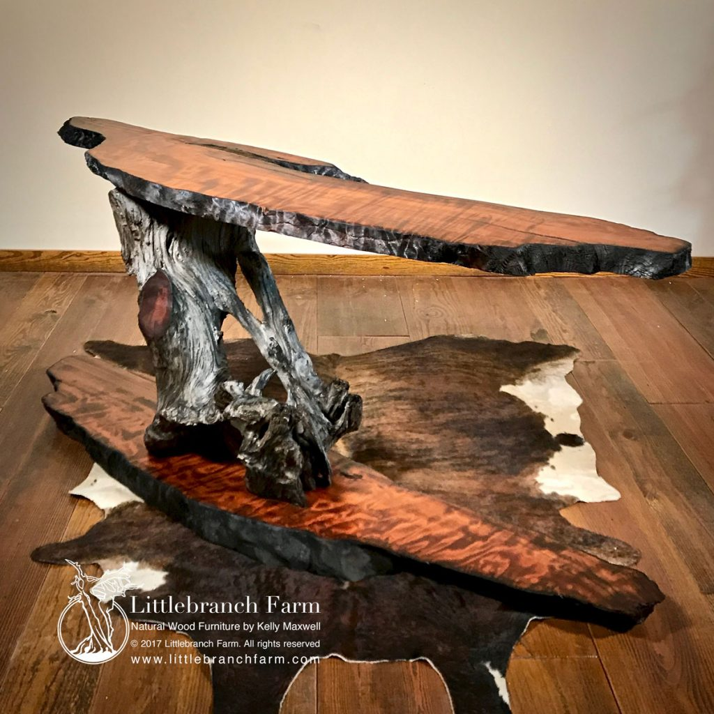 Live edge rustic console table.