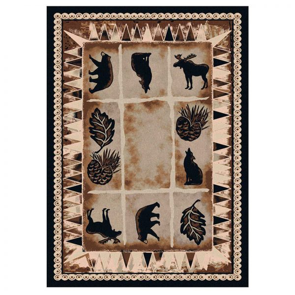 Tan rug with animals.