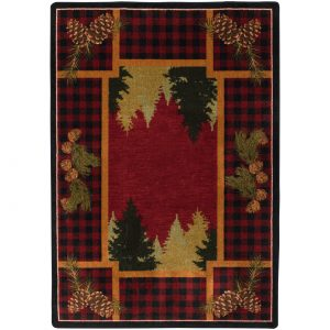 Plaid red area rug