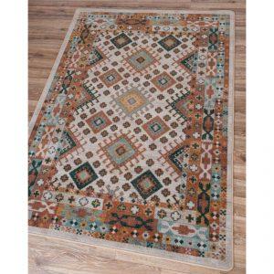 Pastel brown and teal rug