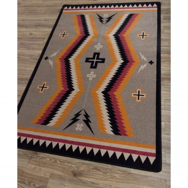 Southwestern design gray rug background